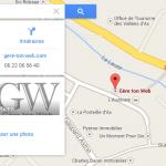 Informations de la Google Adresse que l'on retrouve sur Google adresse. Exemple avec Gère ton Web à Ax-les-Thermes