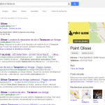 Exemple de Google Adresse dans le résultat de la recherche sur Google avec Point Glisse magasin de location de matériel de ski à Tarascon sur Ariège. Réalisation Gère ton Web.